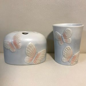 Vintage Butterfly Bathroom Set Toothbrush Holder Cup Made In Japan